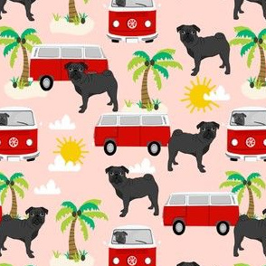 black pug beach bus summer tropical palm tree fabric hippie bus dog fabric - blush