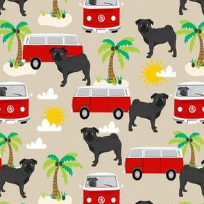 black pug beach bus summer tropical palm tree fabric hippie bus dog fabric - sand