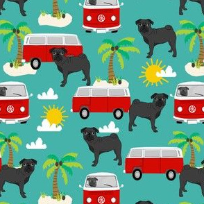 black pug beach bus summer tropical palm tree fabric hippie bus dog fabric - turquoise