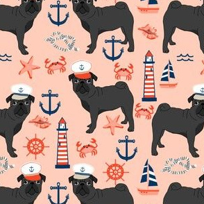 black pug fabric nautical summer nantucket design - blush