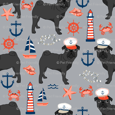 black pug fabric nautical summer nantucket design - light grey