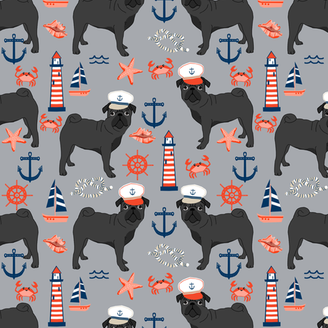 black pug fabric nautical summer nantucket design - light grey fabric by petfriendly on Spoonflower - custom fabric