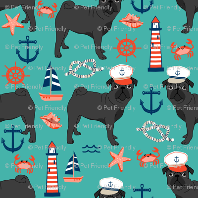 black pug fabric nautical summer nantucket design - turquoise