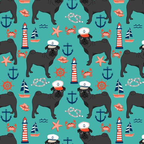 black pug fabric nautical summer nantucket design - turquoise fabric by petfriendly on Spoonflower - custom fabric