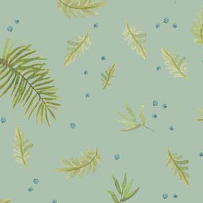 scattered leaves - sage/celadon/aqua