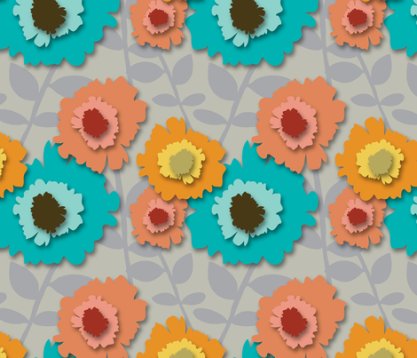 Paper Flower Garden fabric by designsidestudio on Spoonflower - custom fabric