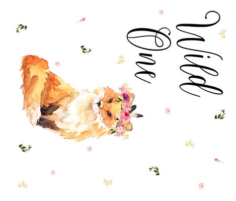 "42""x36"" Wild One / Fox Floral 1 to 1 Yard fabric by shopcabin on Spoonflower - custom fabric"