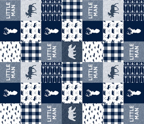 Little Man Patchwork (90) - navy fabric by littlearrowdesign on Spoonflower - custom fabric