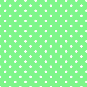 Apple Green and White Polka Dots