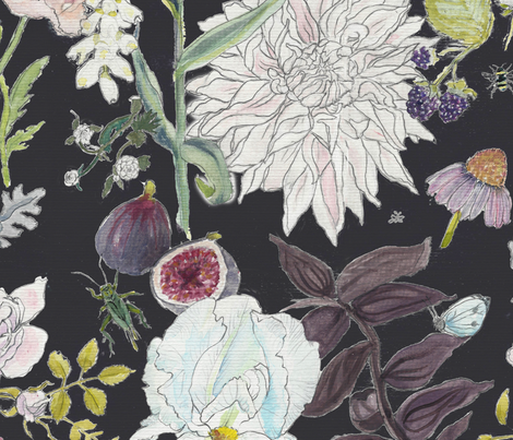 hand-painted garden fleur fabric by leilani's_fleurs on Spoonflower - custom fabric