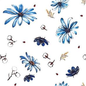 blue sea flora_White