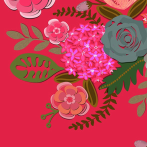 Paper Cut Floral Fuschia