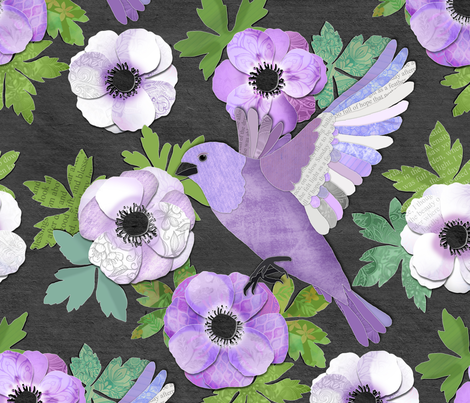 Purple Paper Anemone Collage fabric by micklyn on Spoonflower - custom fabric