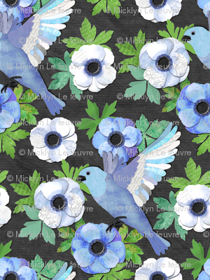Blue Bird and Anemone Collage