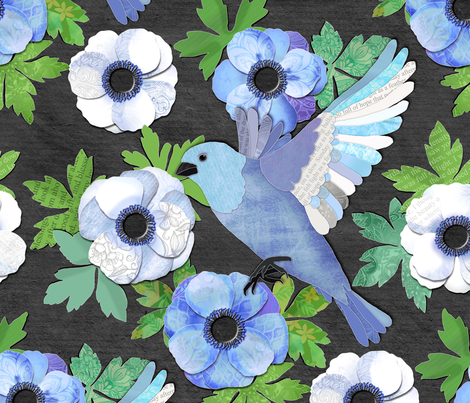 Blue Bird and Anemone Collage fabric by micklyn on Spoonflower - custom fabric