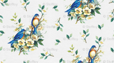 blue birds on yellow blossoms