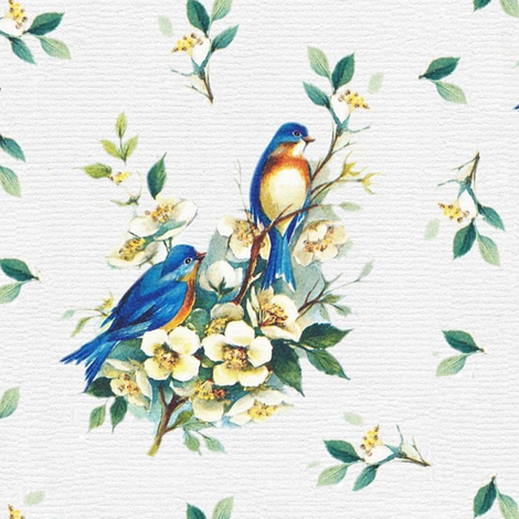 blue birds on yellow blossoms fabric by stofftoy on Spoonflower - custom fabric