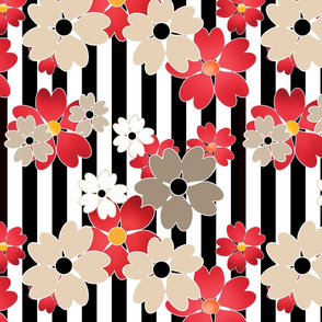 Red and beige flowers .