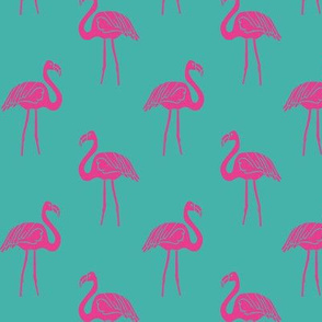 flamingo fabric // simple tropical summer preppy flamingo design by andrea lauren - pink on turquoise