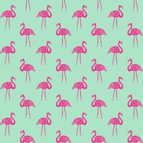 flamingo fabric // simple tropical summer preppy flamingo design by andrea lauren - pink on mint
