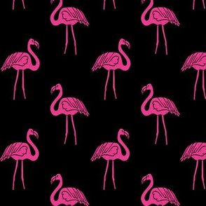 flamingo fabric // simple tropical summer preppy flamingo design by andrea lauren - pink on black
