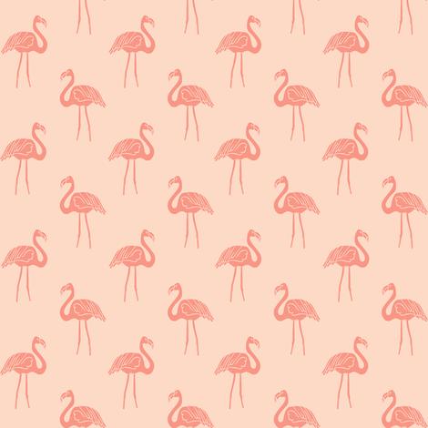 flamingo fabric // simple tropical summer preppy flamingo design by andrea lauren - peach fabric by andrea_lauren on Spoonflower - custom fabric