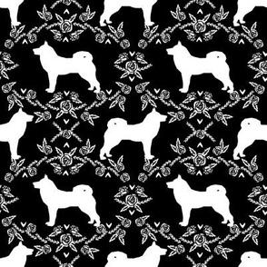 Akita silhouette florals dog fabric pattern black