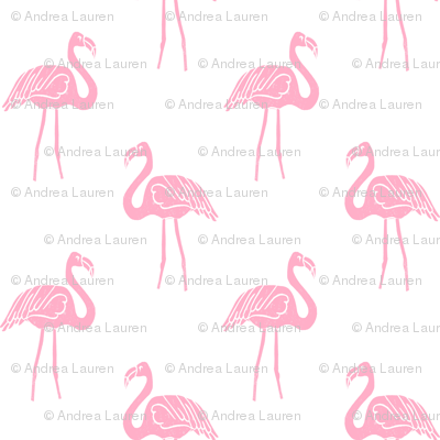 flamingo fabric // simple tropical summer preppy flamingo design by andrea lauren - pink on white