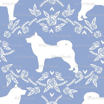 Akita silhouette florals dog fabric pattern cerulean
