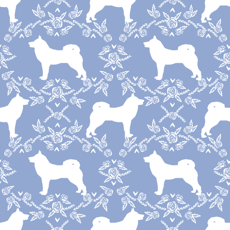 Akita silhouette florals dog fabric pattern cerulean fabric by petfriendly on Spoonflower - custom fabric