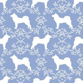 Akita silhouette florals dog fabric pattern cerulean