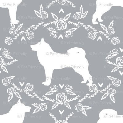 Akita silhouette florals dog fabric pattern grey