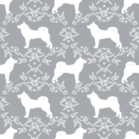 Akita silhouette florals dog fabric pattern grey fabric by petfriendly on Spoonflower - custom fabric