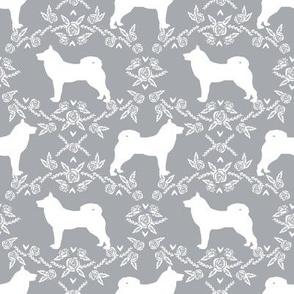 Akita silhouette florals dog fabric pattern grey