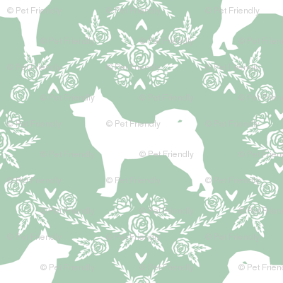 Akita silhouette florals dog fabric pattern mint