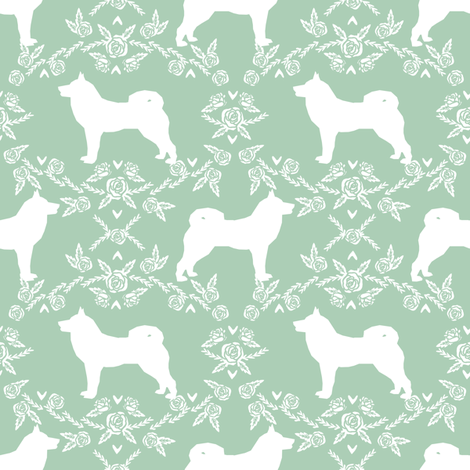 Akita silhouette florals dog fabric pattern mint fabric by petfriendly on Spoonflower - custom fabric