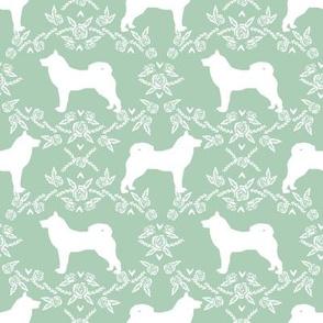 Akita silhouette florals dog fabric pattern mint