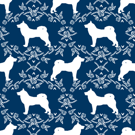 Akita silhouette florals dog fabric pattern navy fabric by petfriendly on Spoonflower - custom fabric