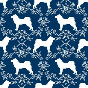 Akita silhouette florals dog fabric pattern navy