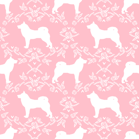 Akita silhouette florals dog fabric pattern pink fabric by petfriendly on Spoonflower - custom fabric