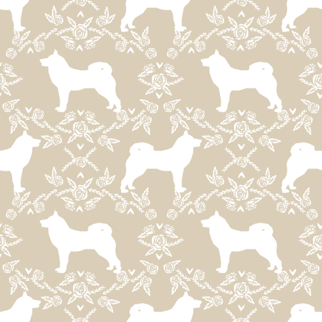 Akita silhouette florals dog fabric pattern sand fabric by petfriendly on Spoonflower - custom fabric