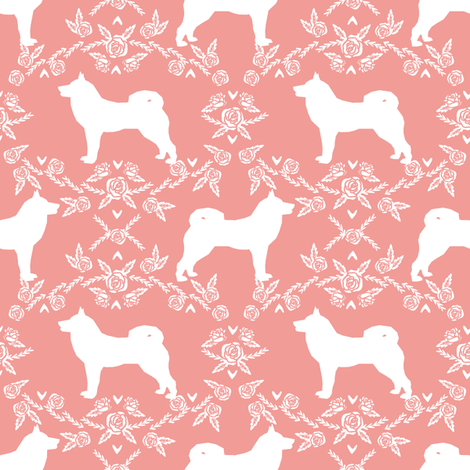 Akita silhouette florals dog fabric pattern sweet pink fabric by petfriendly on Spoonflower - custom fabric