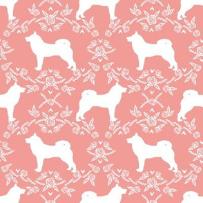 Akita silhouette florals dog fabric pattern sweet pink