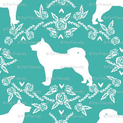 Akita silhouette florals dog fabric pattern turquoise
