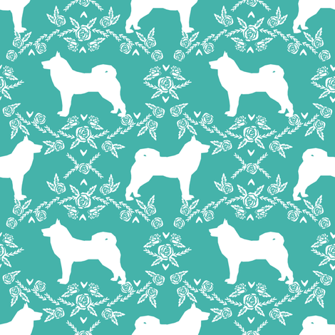 Akita silhouette florals dog fabric pattern turquoise fabric by petfriendly on Spoonflower - custom fabric