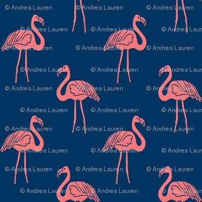 flamingo fabric // simple tropical summer preppy flamingo design by andrea lauren - coral on navy
