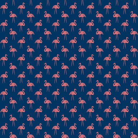 flamingo fabric // simple tropical summer preppy flamingo design by andrea lauren - coral on navy fabric by andrea_lauren on Spoonflower - custom fabric
