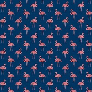 flamingo fabric // simple tropical summer preppy flamingo design by andrea lauren - coral on navy