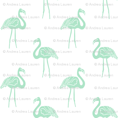 flamingo fabric // simple tropical summer preppy flamingo design by andrea lauren - mint on white