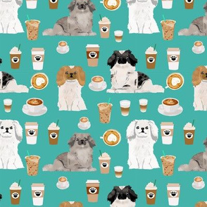 Pekingese dog breed  coffee turquoise